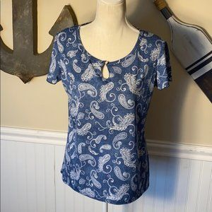 Carol Rose Blue and White Paisley Top - NWT